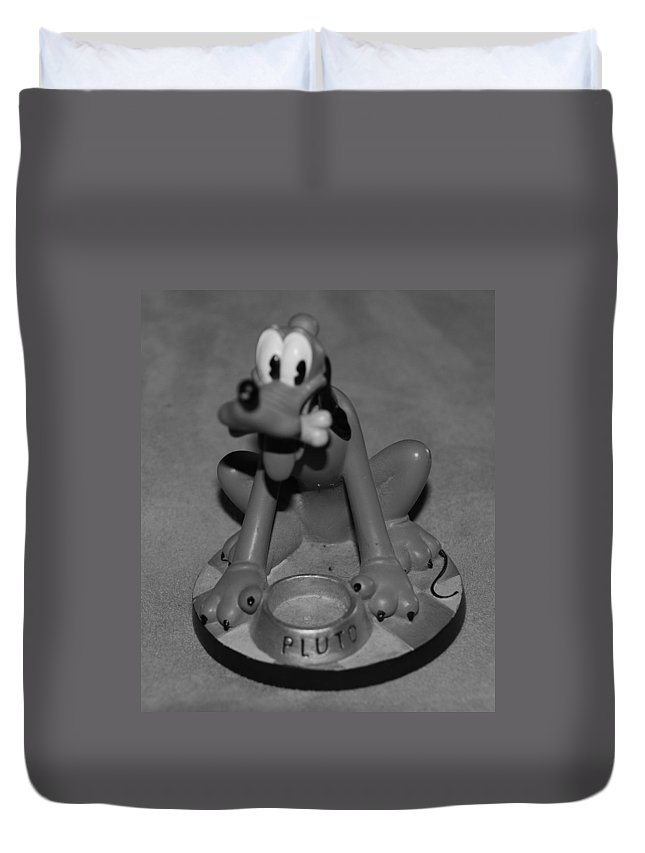 Black And White Duvet Cover featuring the photograph Pluto by Rob Hans