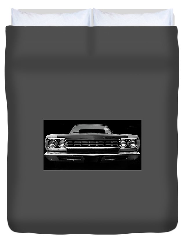 Plymouth Fury Duvet Cover featuring the photograph Plymouth Fury - Black by Philip Openshaw