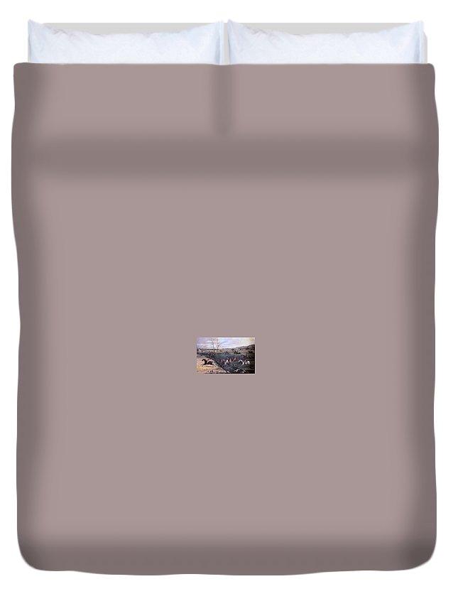 Landscape Duvet Cover featuring the digital art Po Hunp 15 H Alken-oakley Hunt Henry Thomas Alken by Eloisa Mannion