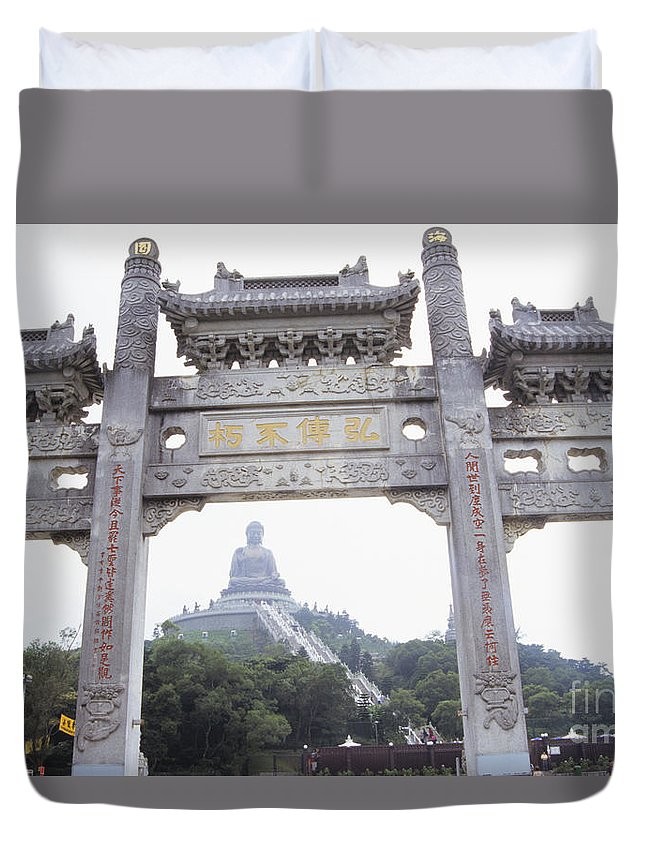 Architectural Duvet Cover featuring the photograph Po Lin Monestary by Rita Ariyoshi - Printscapes