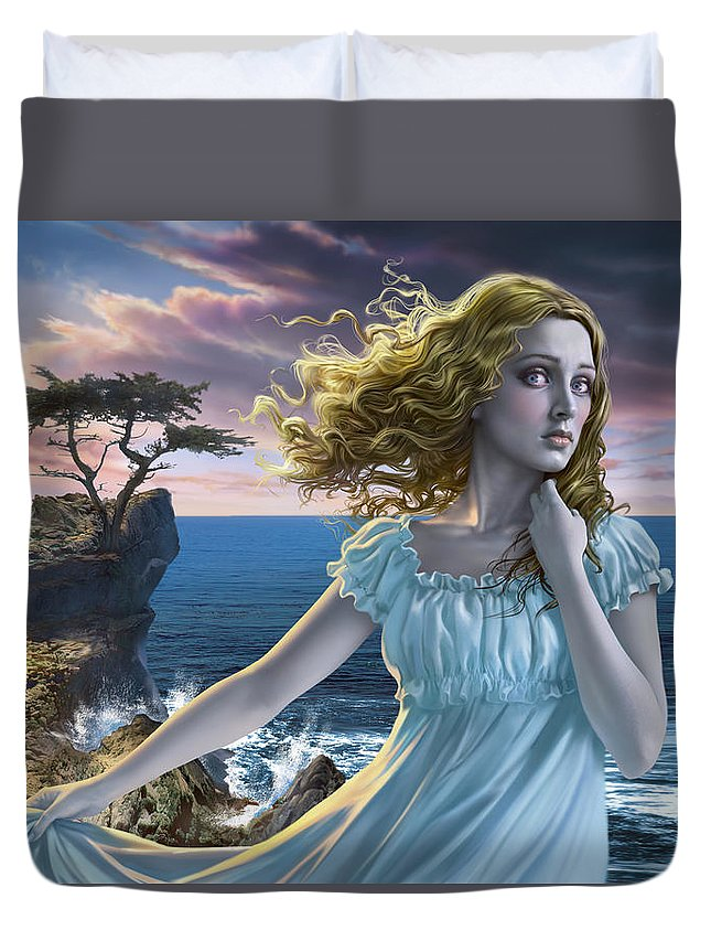 Edgar Allen Poe Duvet Cover featuring the digital art Poe's Lenore by Mark Fredrickson