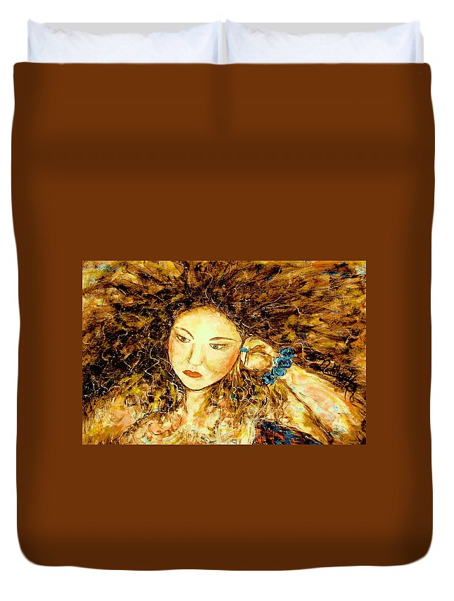 Portrait Duvet Cover featuring the painting Poet by Natalie Holland