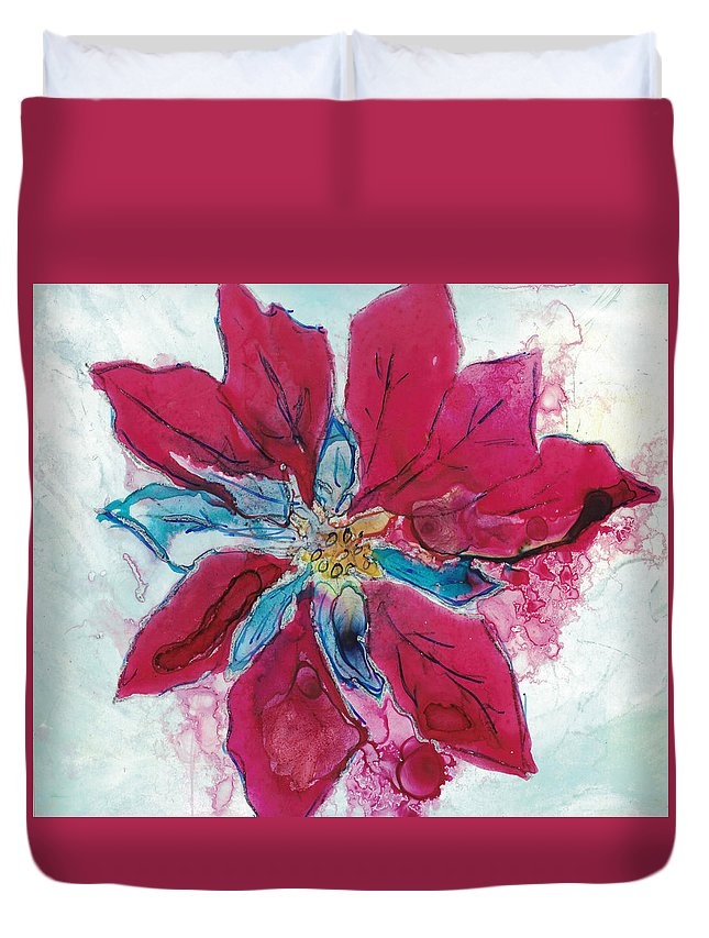 Poinsetta Duvet Cover featuring the painting Poinsettia by Lara Corbell