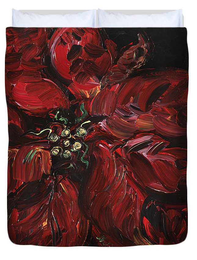 Abstract Duvet Cover featuring the painting Poinsettia by Nadine Rippelmeyer