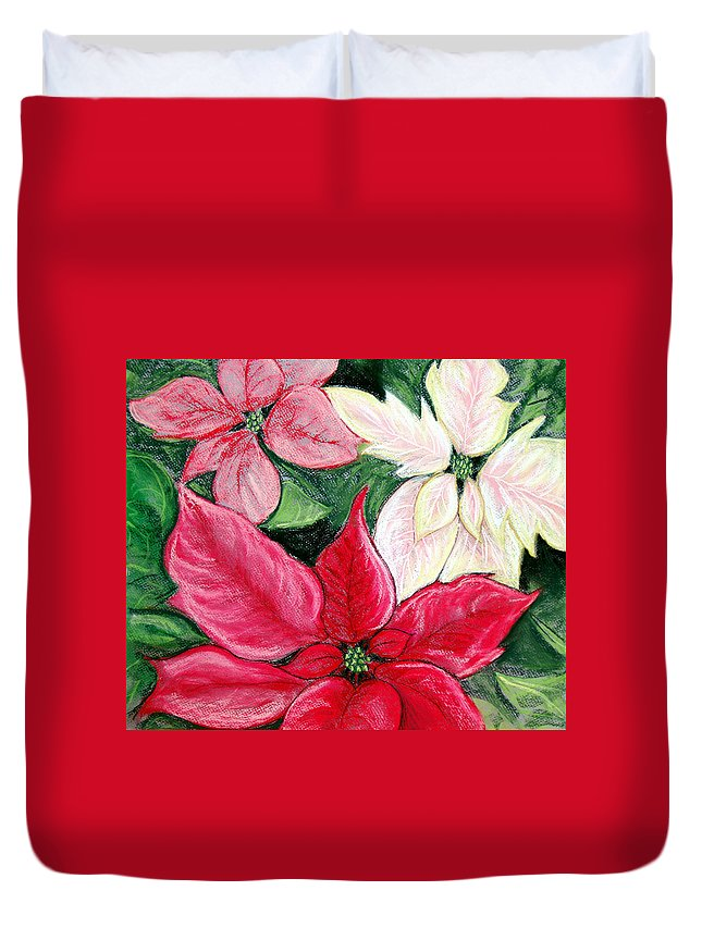 Poinsettia Duvet Cover featuring the pastel Poinsettia Pastel by Nancy Mueller