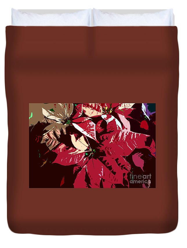 Poinsettias Duvet Cover featuring the photograph Poinsettia's Work Number 7 by David Lee Thompson