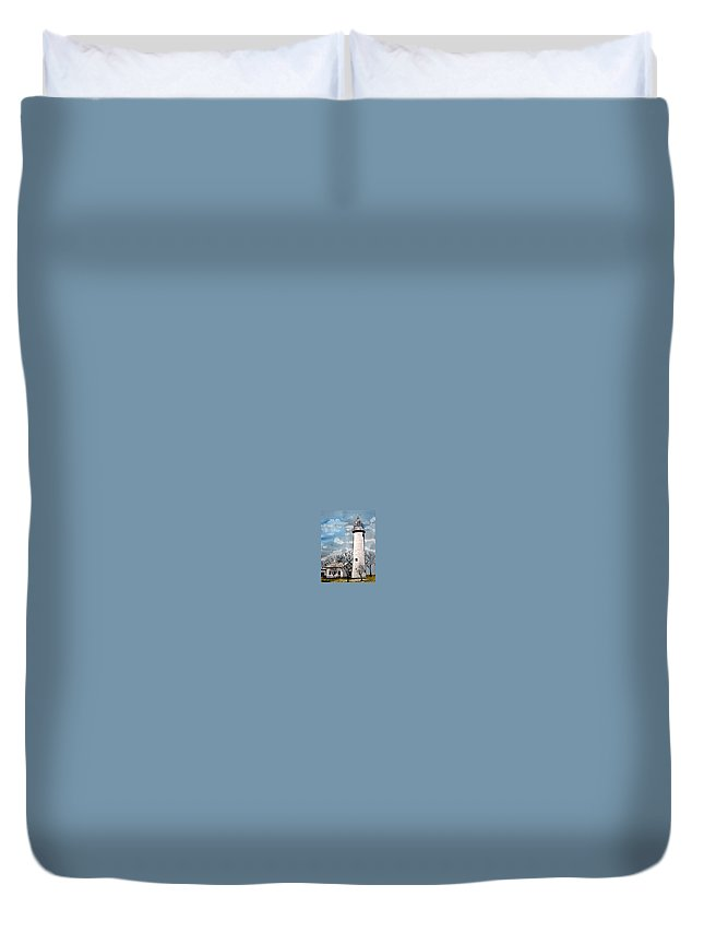 Lighthouse Painting Duvet Cover featuring the painting Point Aux Barques Lighthouse by Derek Mccrea