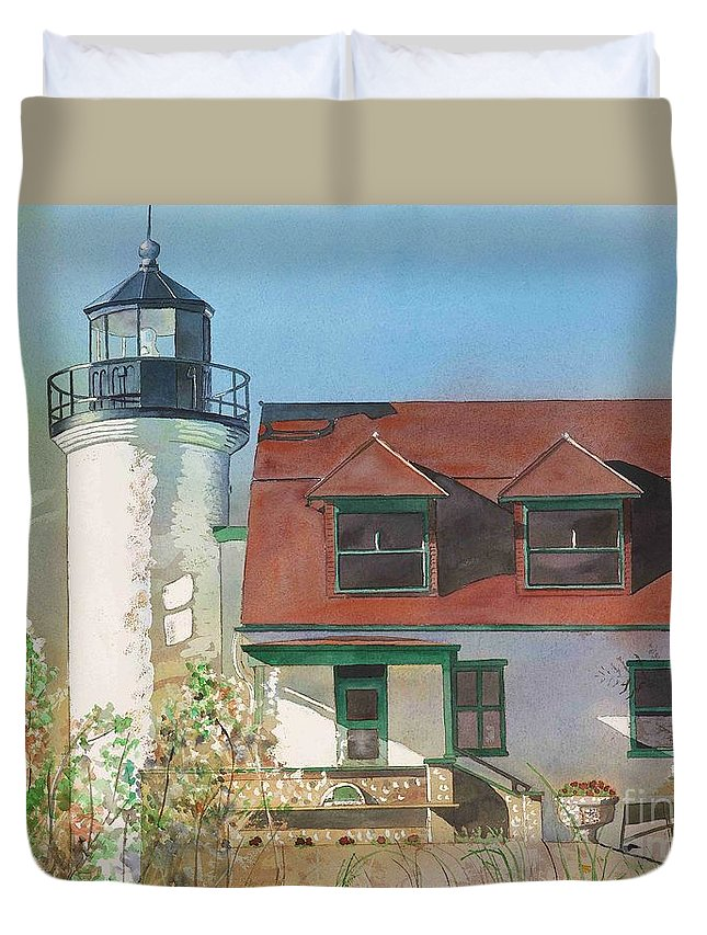 Point Betsie Duvet Cover featuring the painting Point Betsie Lighthouse by LeAnne Sowa