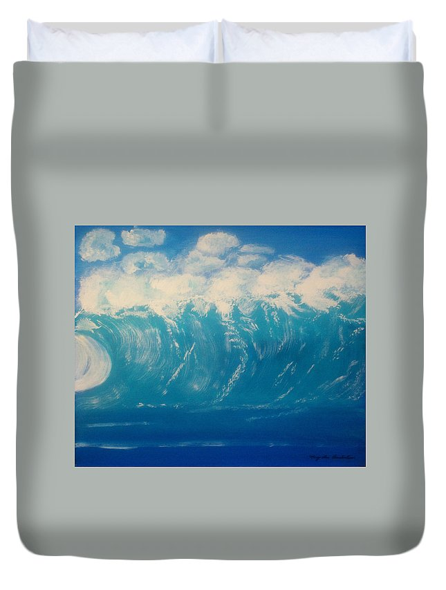Beach Duvet Cover featuring the painting Point Break by Mary Lou Constantine