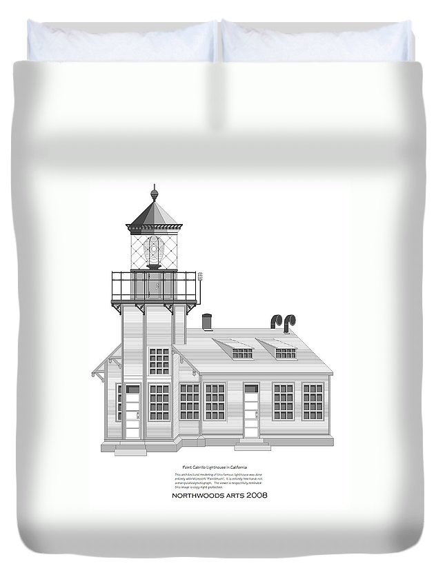Lighthouse Duvet Cover featuring the painting Point Cabrillo Architectural Drawing by Anne Norskog