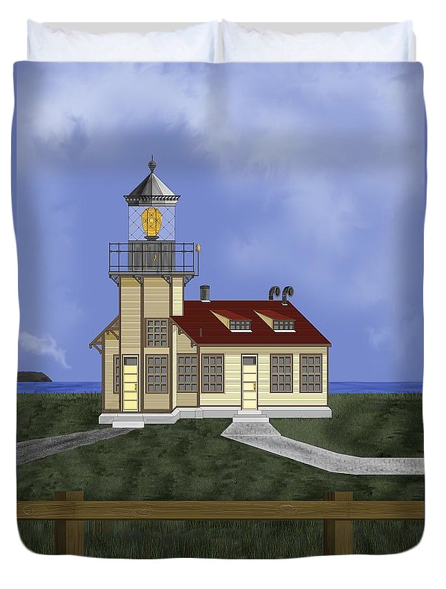 Lighthouse Duvet Cover featuring the painting Point Cabrillo California by Anne Norskog