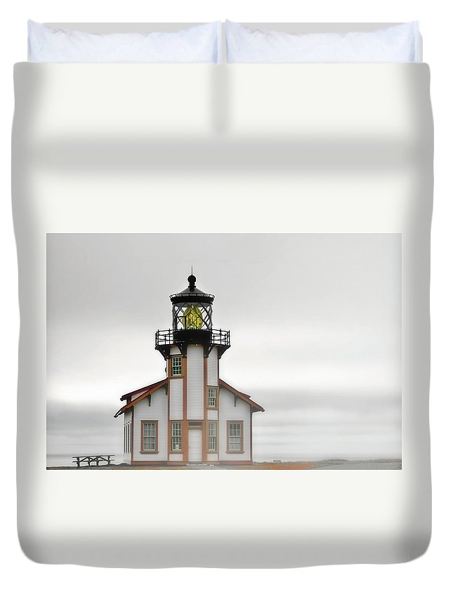 Point Cabrillo Lighthouse Duvet Cover featuring the photograph Point Cabrillo Light Station - Mendocino Ca by Christine Till