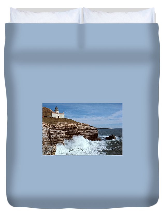 Point Conception Lighthouse Duvet Cover featuring the photograph Point Conception Lighthouse by Jerry McElroy
