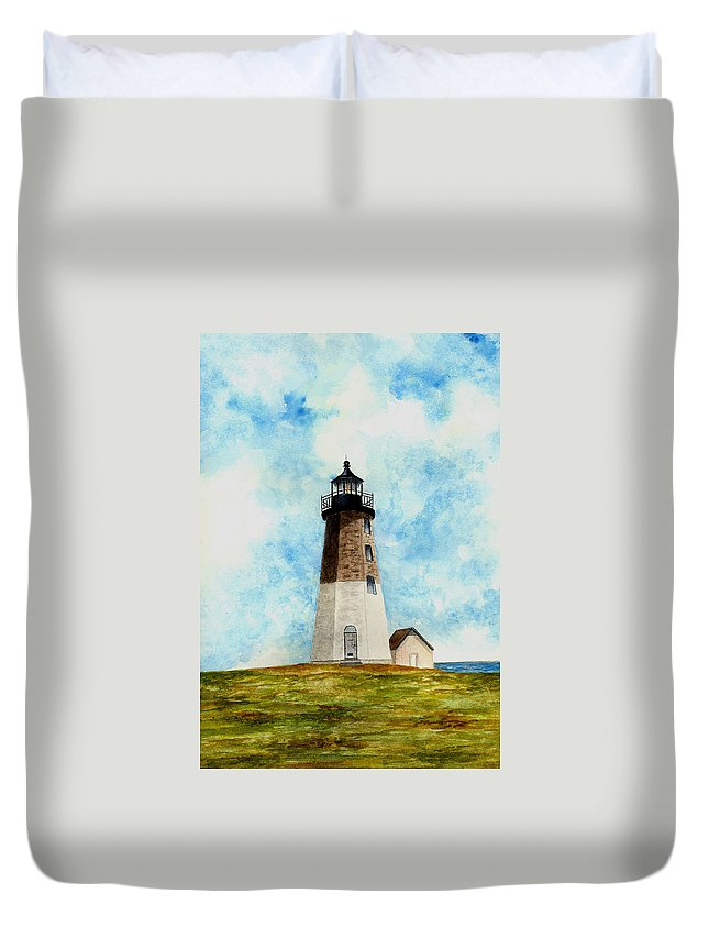 Lighthouse Duvet Cover featuring the painting Point Judith Lighthouse by Michael Vigliotti