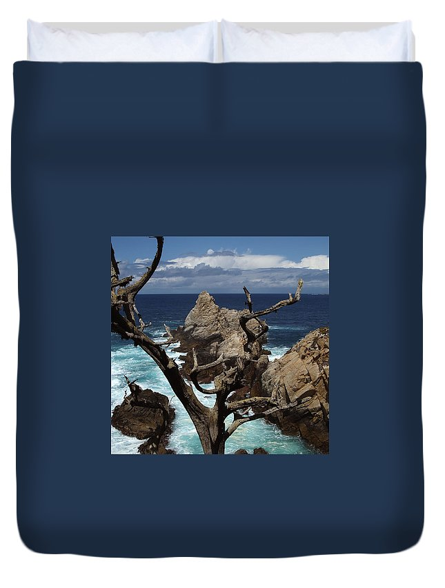 Carmel Duvet Cover featuring the photograph Point Lobos Rocks And Branches by Charlene Mitchell