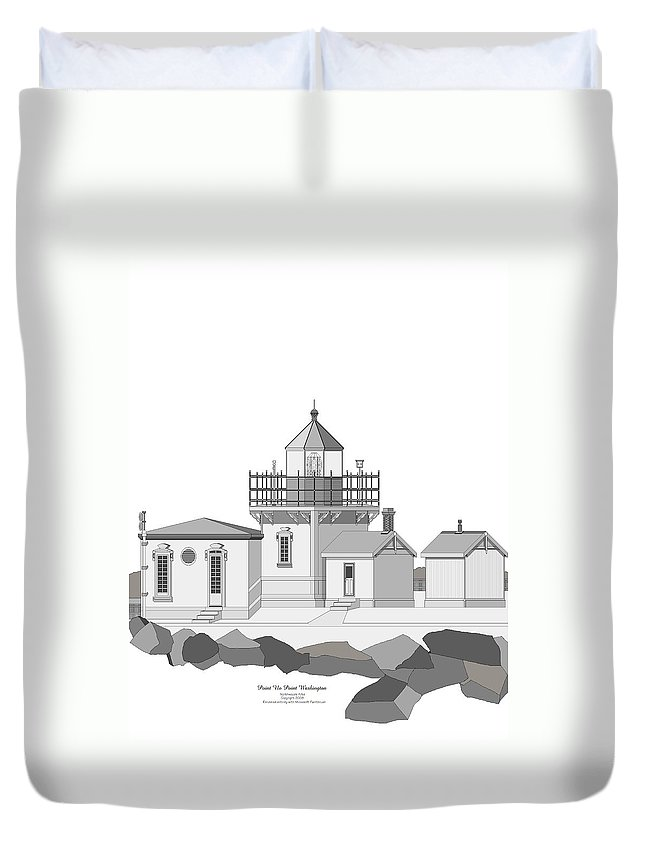 Lighthouse Duvet Cover featuring the painting Point No Point As Architectural Drawing by Anne Norskog