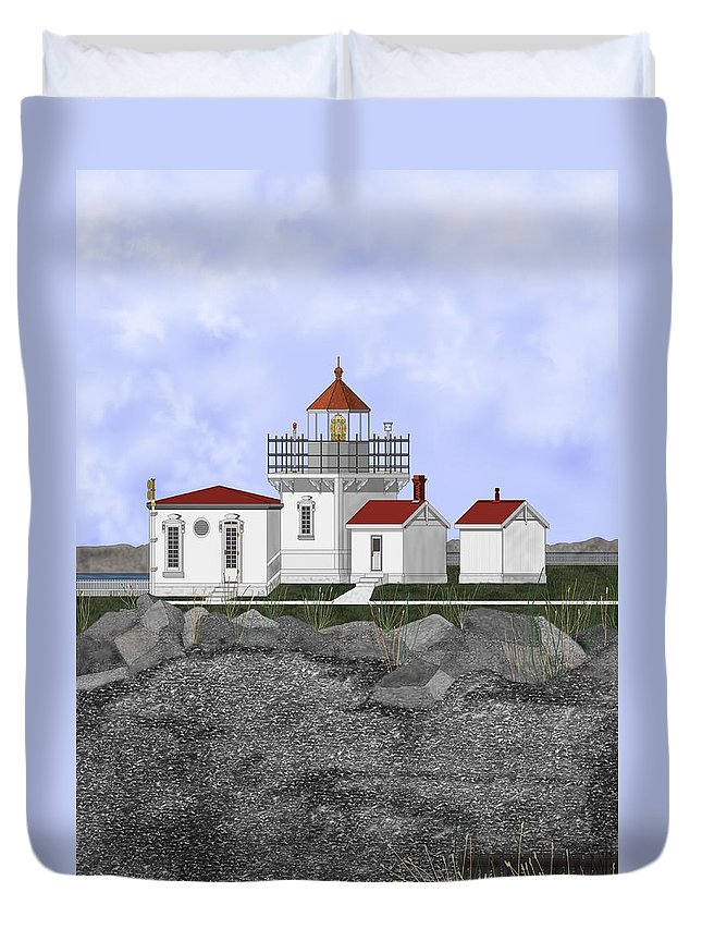 Lighthouse Duvet Cover featuring the painting Point No Point Lighthouse by Anne Norskog