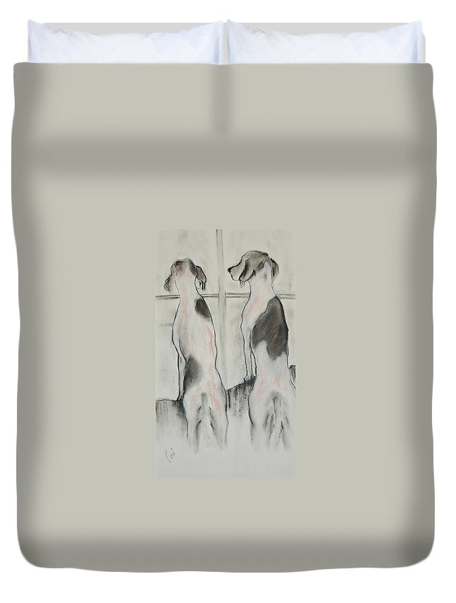 Pastel Duvet Cover featuring the drawing Point Of View by Cori Solomon