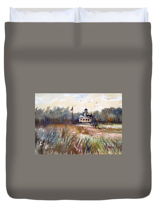 Watercolor Duvet Cover featuring the painting Point Pinos Lighthouse by Ryan Radke