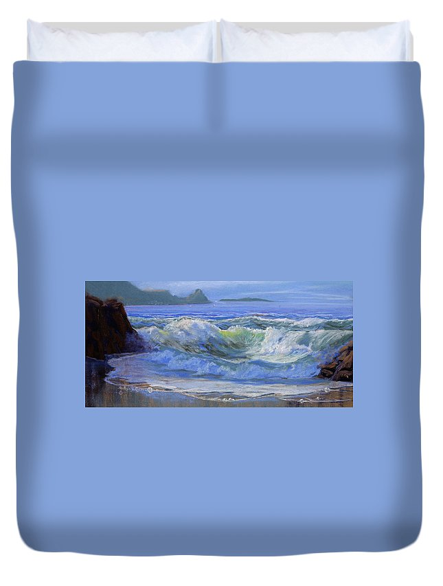 Seascape Duvet Cover featuring the painting Point Reyes by Heather Coen