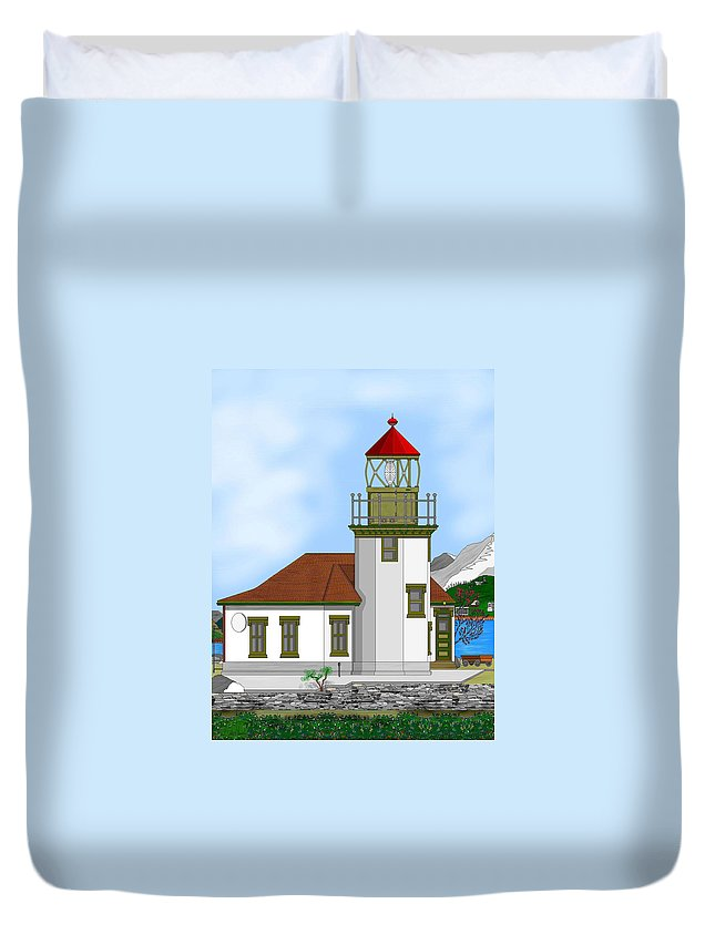 Lighthouse Duvet Cover featuring the painting Point Robinson On Vashon Island by Anne Norskog