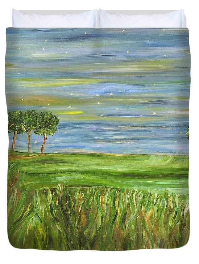 Night Sky Duvet Cover featuring the painting Point St. Francis by Sara Credito