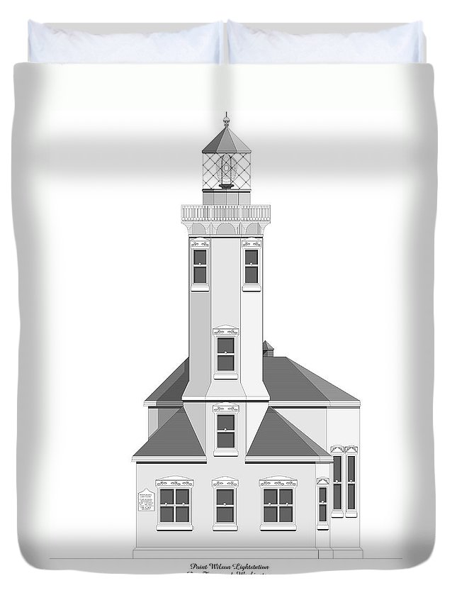 Lighthouse Duvet Cover featuring the painting Point Wilson Architectural Drawing by Anne Norskog