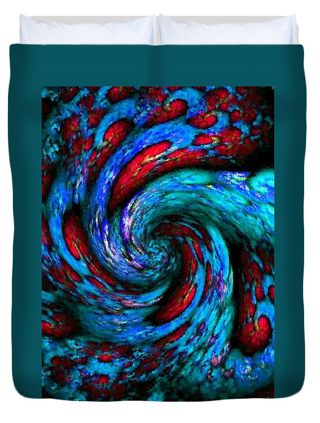 Announcement Duvet Cover featuring the painting Pointelist Fractal Swirl Catus 1 No. 1 V B by Gert J Rheeders
