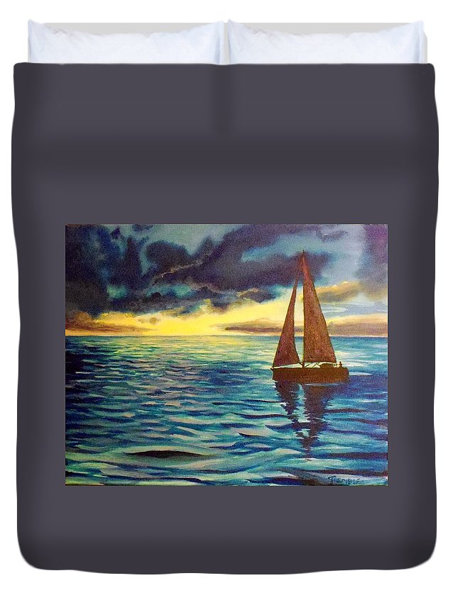 Sailboat Sunset Sunrise Blue Lake Ocean Duvet Cover featuring the painting Points Unknown by William Tremble