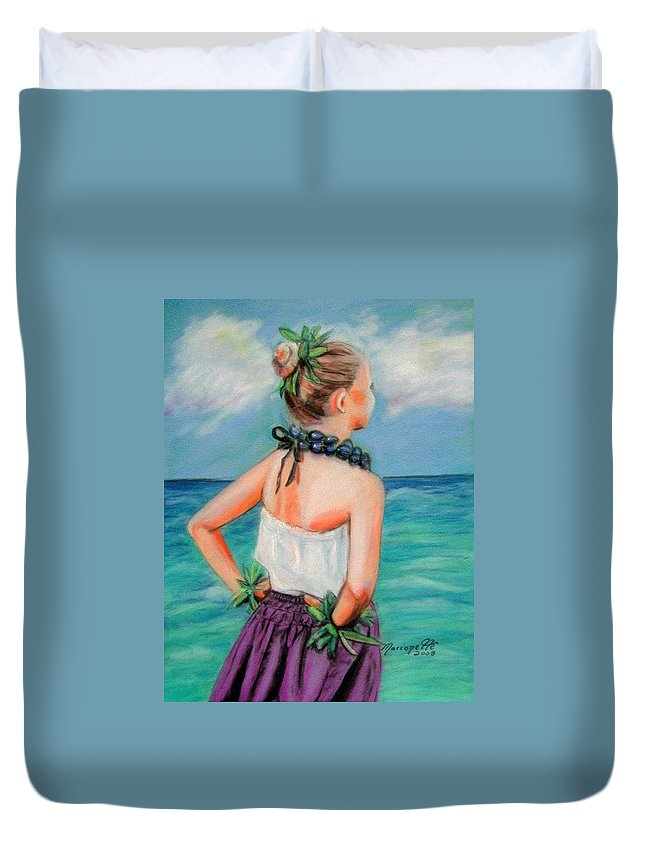 Hula Dance Duvet Cover featuring the painting Poipu Hula by Marionette Taboniar