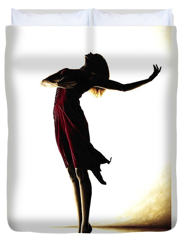Ballet Duvet Cover featuring the painting Poise in Silhouette by Richard Young