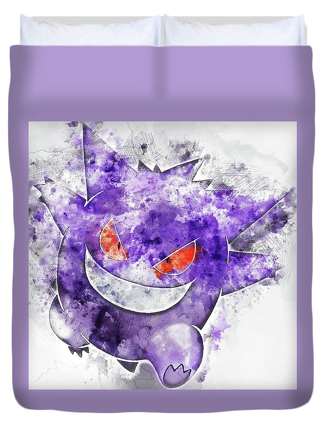 cd1210ca Pokemon Duvet Cover featuring the painting Pokemon Gengar Abstract Portrait  - By Diana Van by Diana