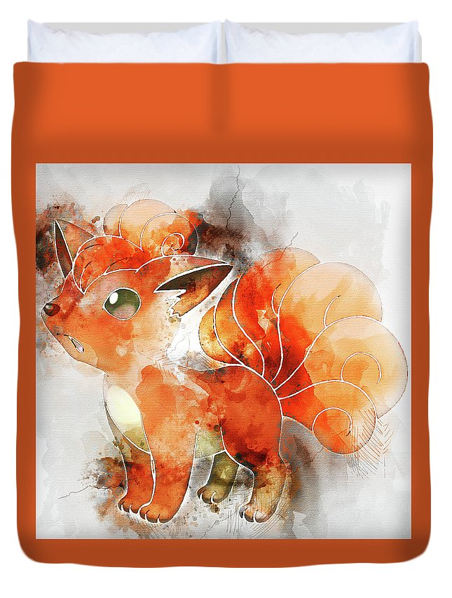 Pokemon Duvet Cover featuring the painting Pokemon Vulpix Abstract Portrait - By Diana Van by Diana Van