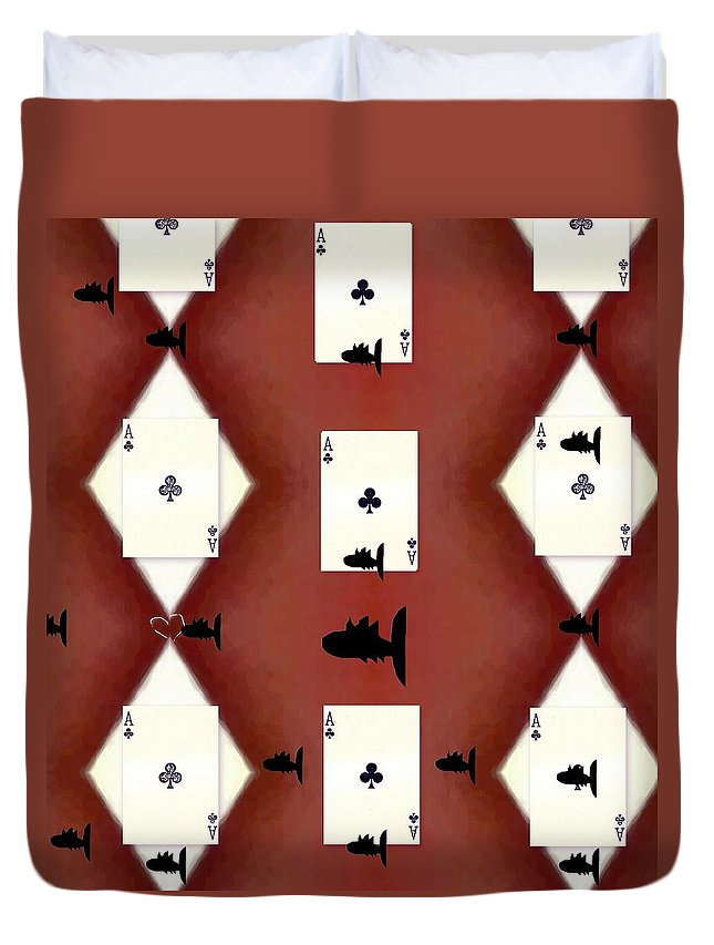 Card Duvet Cover featuring the mixed media Poker Sharks by Pepita Selles