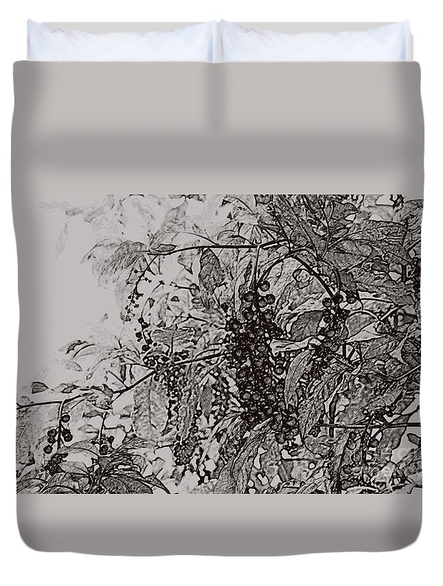 Pokeweed Duvet Cover featuring the photograph Pokeweed by Linda Shafer