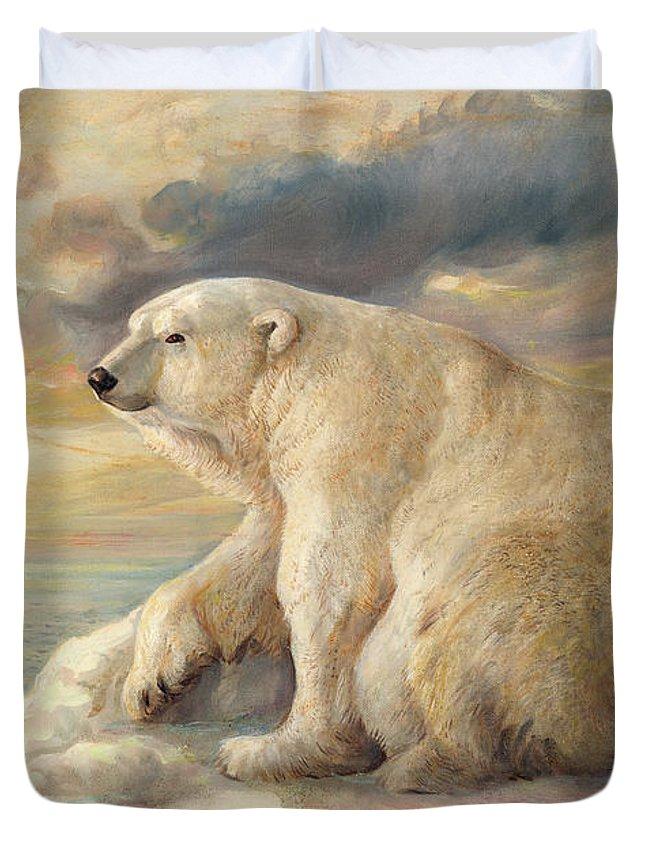 Polar Bear Duvet Cover featuring the painting Polar Bear Rests On The Ice - Arctic Alaska by Svitozar Nenyuk