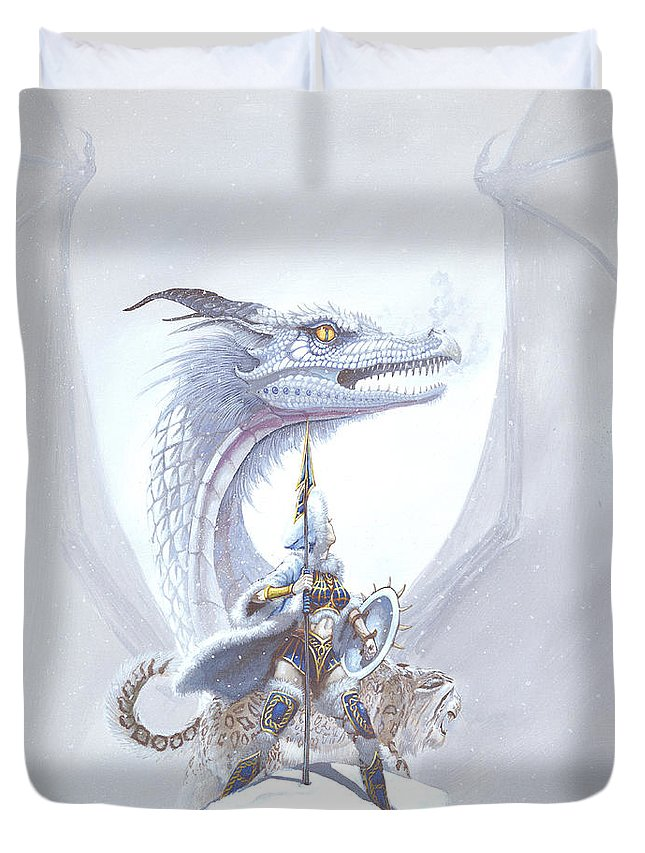 Dragon Duvet Cover featuring the painting Polar Princess by Stanley Morrison