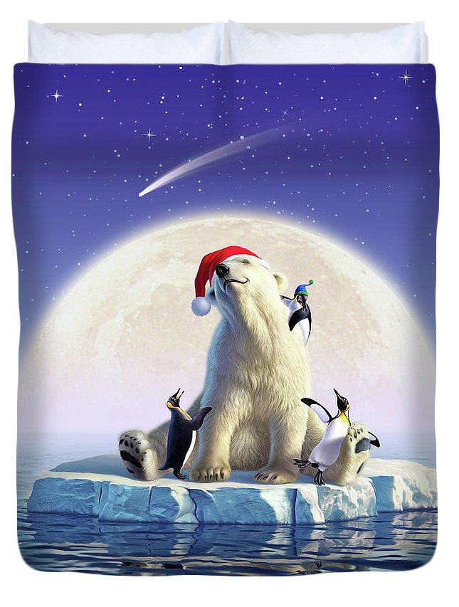 Snow Duvet Cover featuring the digital art Polar Season Greetings by Jerry LoFaro