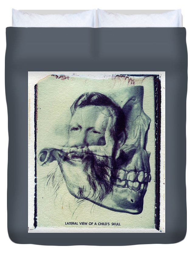 Polaroid Duvet Cover featuring the photograph Polaroid Transfer Skull Anatomy Teeth Skeleton Beard by Jane Linders