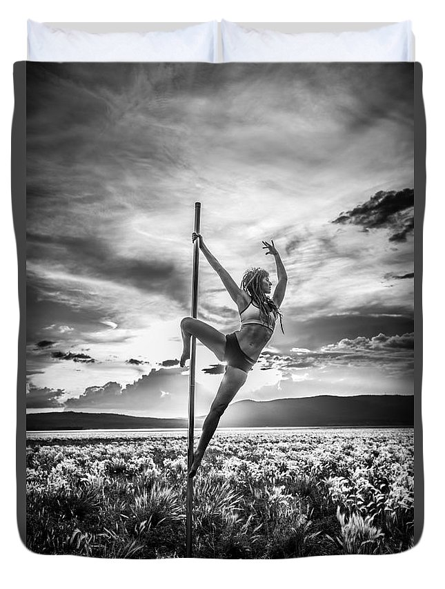 Location Duvet Cover featuring the photograph Pole Dance Reach Hdr by Scott Sawyer