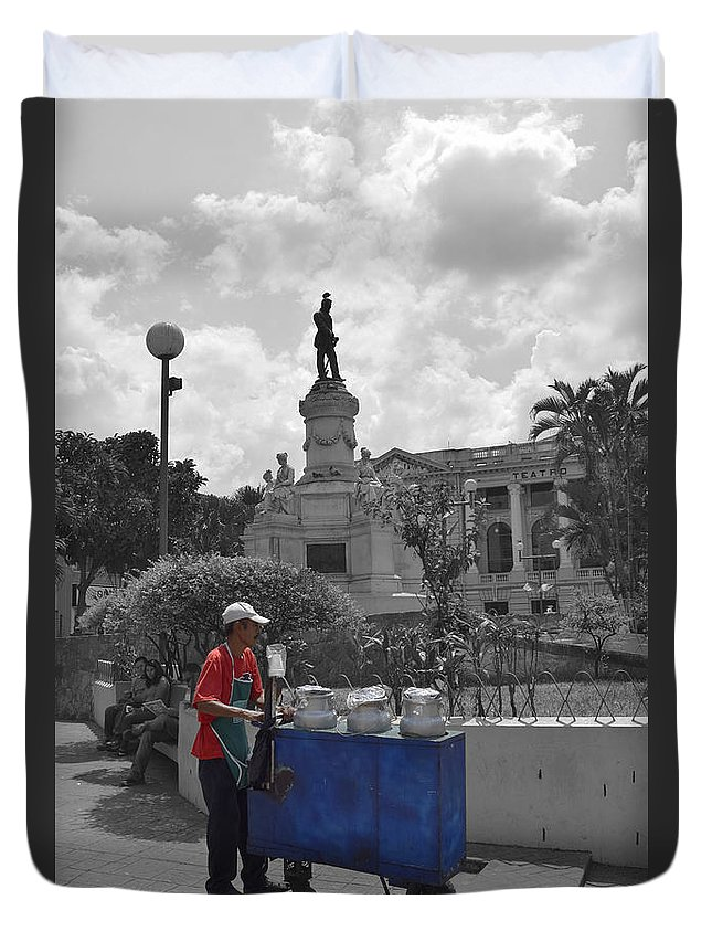 Centro Historico Duvet Cover featuring the photograph Poleada Vendor by Totto Ponce