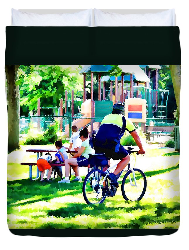 Police Officer Rides A Bicycle Duvet Cover featuring the painting Police Officer Rides A Bicycle by Jeelan Clark