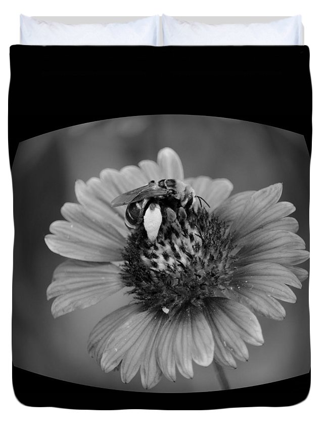 Pollen Collector Bw Duvet Cover featuring the photograph Pollen Collector Bw by Maria Urso