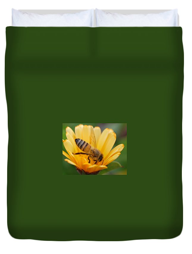 Bee Duvet Cover featuring the photograph Pollination 2 by Amy Fose