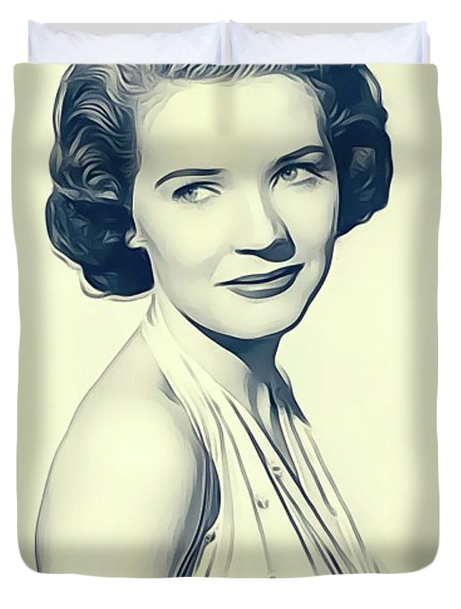 Polly Duvet Cover featuring the digital art Polly Bergen, Vintage Actress by John Springfield