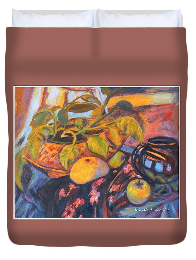 Still Life Duvet Cover featuring the painting Pollys Plant by Kendall Kessler