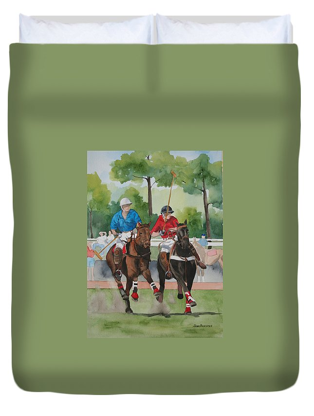 Polo Duvet Cover featuring the painting Polo In The Afternoon 2 by Jean Blackmer