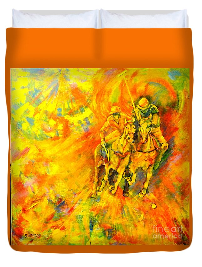 Horses Duvet Cover featuring the painting Poloplayer by Dagmar Helbig