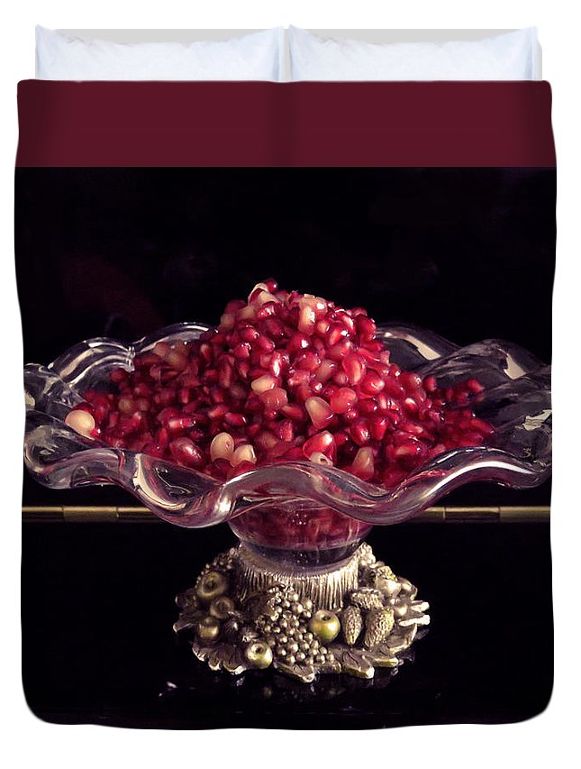 Pomegranate Seeds Duvet Cover featuring the photograph Pomegranate by Ana Dawani