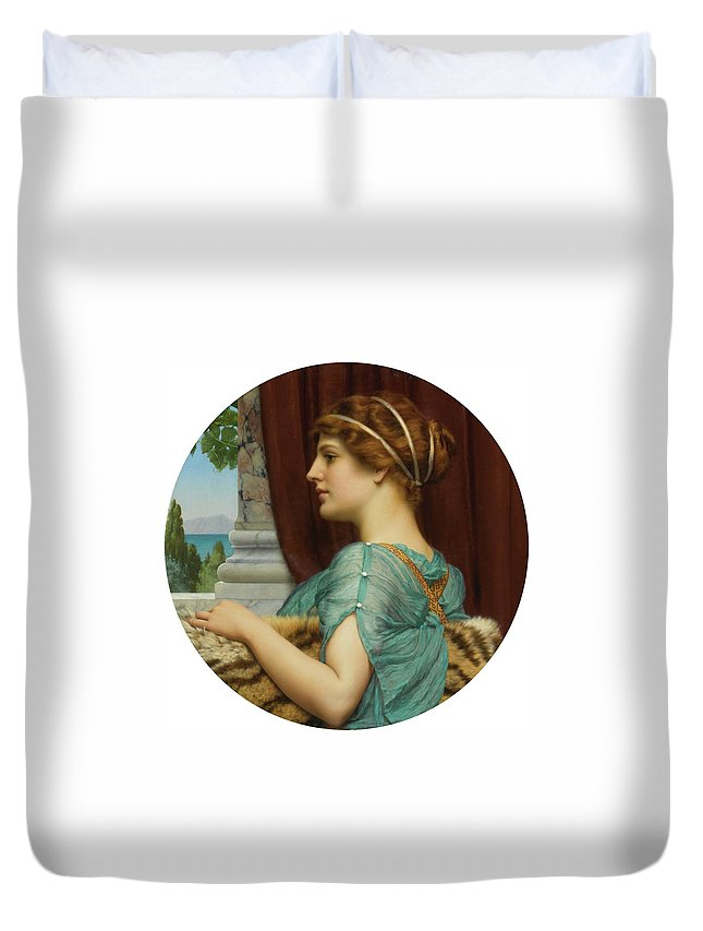 John William Godward Duvet Cover featuring the painting Pompeian Lady by John William